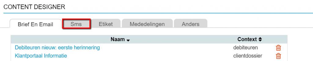 Content Designer tab sms